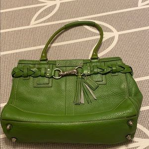 Avocado / Lime Green Coach Leather Bag